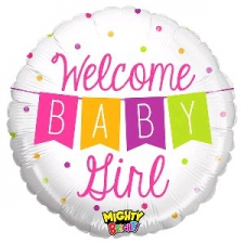 21 INCH FOIL MIGHTY BABY GIRL BALLOON BANNER