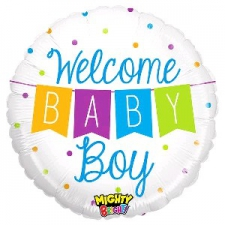 21 INCH FOIL MIGHTY BABY BOY BALLOON BANNER