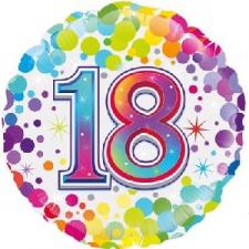 18 INCH FOIL COLOURFUL 18TH BIRTHDAY BALLOON