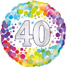 18 INCH FOIL COLOURFUL 40TH BIRTHDAY BALLOON