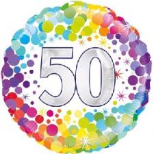 18 INCH FOIL COLOURFUL 50TH BIRTHDAY BALLOON