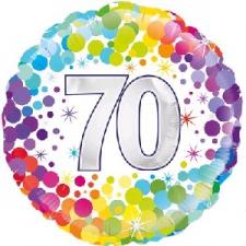 18 INCH FOIL COLOURFUL 70TH BIRTHDAY BALLOON