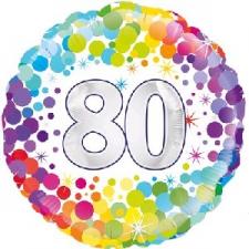 18 INCH FOIL COLOURFUL 80TH BIRTHDAY BALLOON