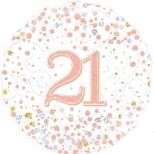 18 INCH FOIL ROSE GOLD 21ST BIRTHDAY BALLOON