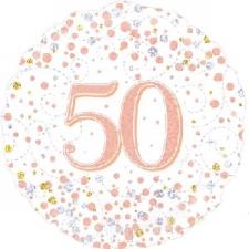 18 INCH FOIL ROSE GOLD 50TH BIRTHDAY BALLOON
