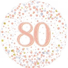 18 INCH FOIL ROSE GOLD 80TH BIRTHDAY BALLOON