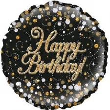 18 INCH FOIL BLACK FIZZ HAPPY BIRTHDAY BALLOON