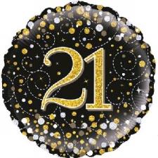 18 INCH FOIL BLACK FIZZ 21ST BIRTHDAY BALLOON