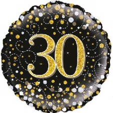 18 INCH FOIL BLACK FIZZ 30TH BIRTHDAY BALLOON