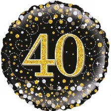 18 INCH FOIL BLACK FIZZ 40TH BIRTHDAY BALLOON