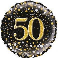 18 INCH FOIL BLACK FIZZ 50TH BIRTHDAY BALLOON