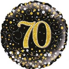 18 INCH FOIL BLACK FIZZ 70TH BIRTHDAY BALLOON