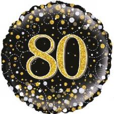 18 INCH FOIL BLACK FIZZ 80TH BIRTHDAY BALLOON