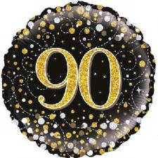 18 INCH FOIL BLACK FIZZ 90TH BIRTHDAY BALLOON