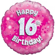 18 INCH FOIL PINK 16TH BIRTHDAY BALLOON