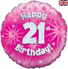 18 INCH FOIL PINK 21ST BIRTHDAY BALLOON