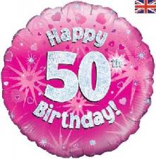 18 INCH FOIL PINK 50TH BIRTHDAY BALLOON