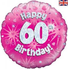 18 INCH FOIL PINK 60TH BIRTHDAY BALLOON