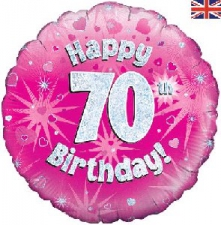 18 INCH FOIL PINK 70TH BIRTHDAY BALLOON