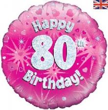 18 INCH FOIL PINK 80TH BIRTHDAY BALLOON