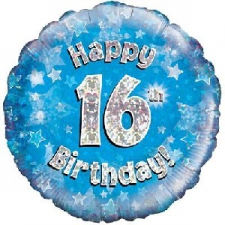 18 INCH FOIL BLUE 16TH BIRTHDAY BALLOON