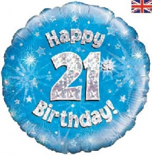 18 INCH FOIL BLUE 21ST BIRTHDAY BALLOON