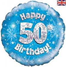 18 INCH FOIL BLUE 50TH BIRTHDAY BALLOON