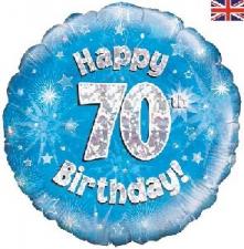 18 INCH FOIL BLUE 70TH BIRTHDAY BALLOON