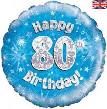 18 INCH FOIL BLUE 80TH BIRTHDAY BALLOON