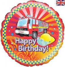 18 INCH FOIL HAPPY BIRTHDAY BALLOON FIRE ENGINE DE
