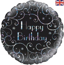 18 INCH FOIL HAPPY BIRTHDAY BALLOON BLACK SWIRLS D