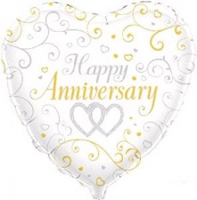 18 INCH FOIL ANNIVERSARY LINKED HEARTS