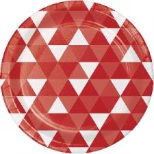 RED FRACTAL DINNER PLATE 9