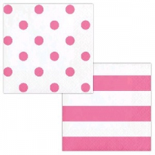 DOTS AND STRIPES CANDY PINK SERVIETTES LUNCHEON