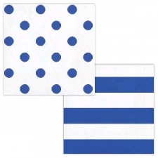 DOTS AND STRIPES COBALT BLUE SERVIETTES LUNCHEON