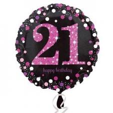 18 INCH SPARKLING PINK 21ST BIRTHDAY BALLOON