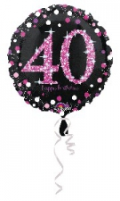 18 INCH SPARKLING PINK 40TH BIRTHDAY BALLOON