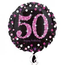 18 INCH SPARKLING PINK 50TH BIRTHDAY BALLOON