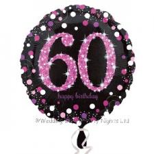 18 INCH SPARKLING PINK 60TH BIRTHDAY BALLOON