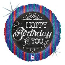 18 INCH FOIL HAPPY BIRTHDAY BALLOON  CHALKBOARD