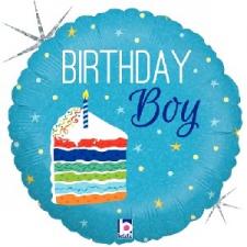 18 INCH FOIL HAPPY BIRTHDAY BALLOON CAKE BOY