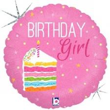 18 INCH FOIL HAPPY BIRTHDAY BALLOON CAKE GIRL