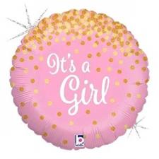 18 INCH FOIL BABY GIRL BALLOON GLITTERING