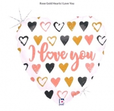 18 INCH FOIL ROSE GOLD HEART LOVE U