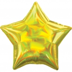 18 INCH HOLOGRAPHIC STAR BALLOON GOLD