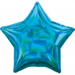 18 INCH HOLOGRAPHIC STAR BALLOON BLUE