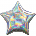 18 INCH HOLOGRAPHIC STAR BALLOON SILVER