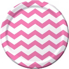 CANDY PINK CHEVRON DINNER PLATE 9