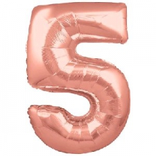 30 INCH FOIL ROSE GOLD NUMBER BALLOON 5
