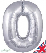 30 INCH FOIL SILVER NUMBER BALLOON 0